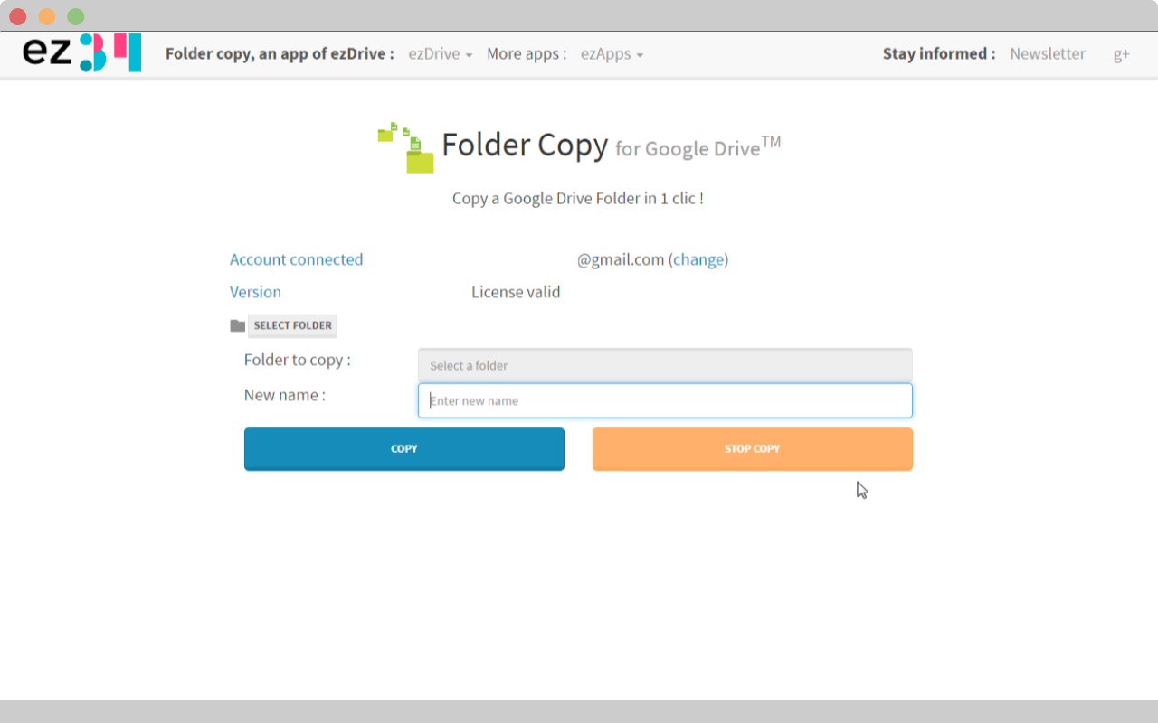 Folder copy for google drive print screen