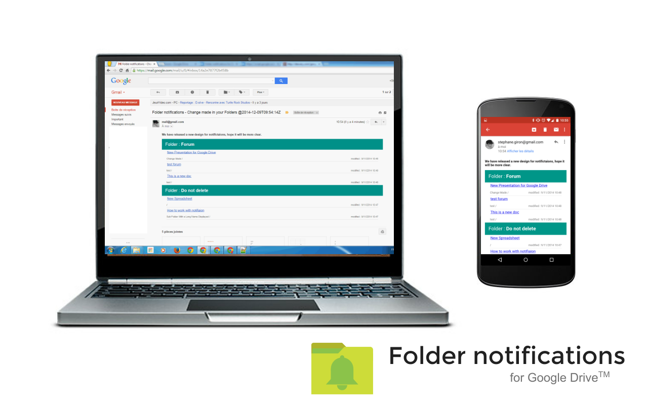 receive notifications when a file is modified in one of your google drive folder