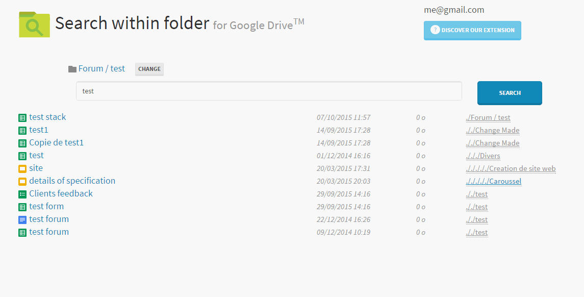 prit screen search within folder for google drive