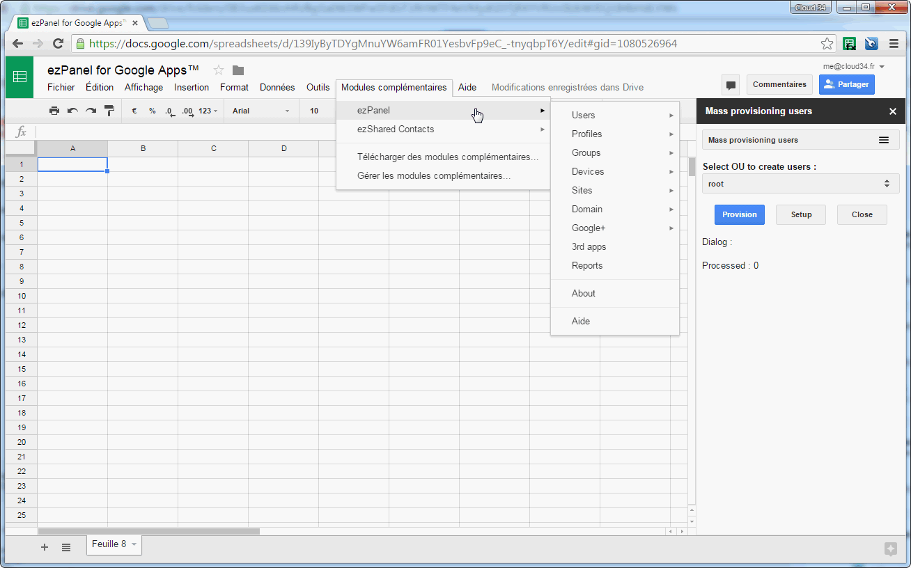 google sheets addon to manage google apps domain