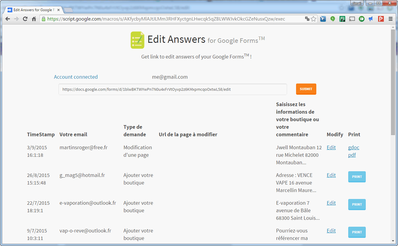 print answers for google forms and get edit link