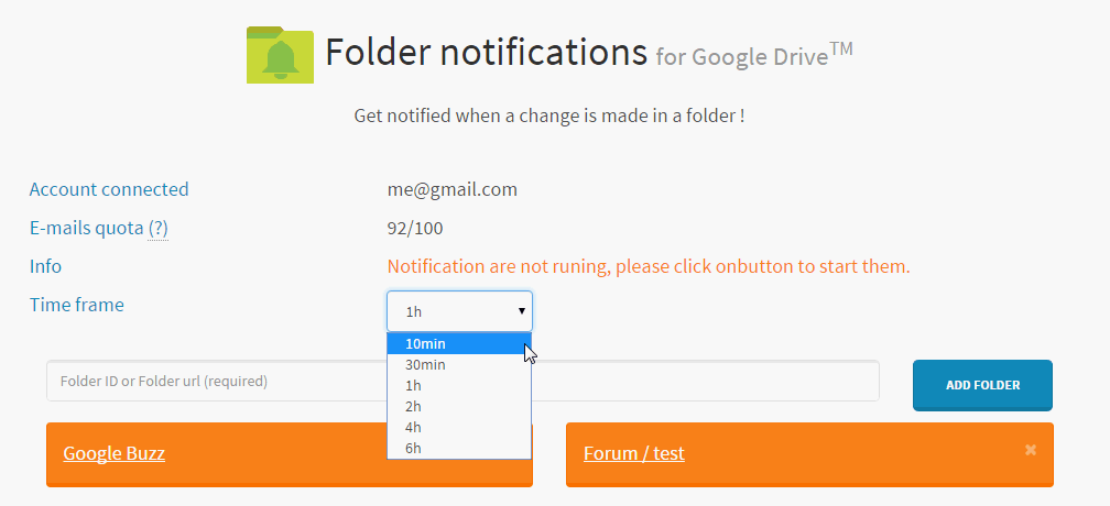 modify time frame of folder notifications