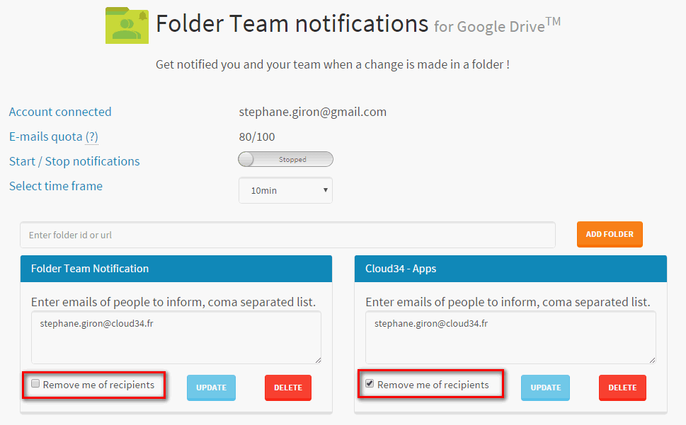 folder team notifications remove of recipients