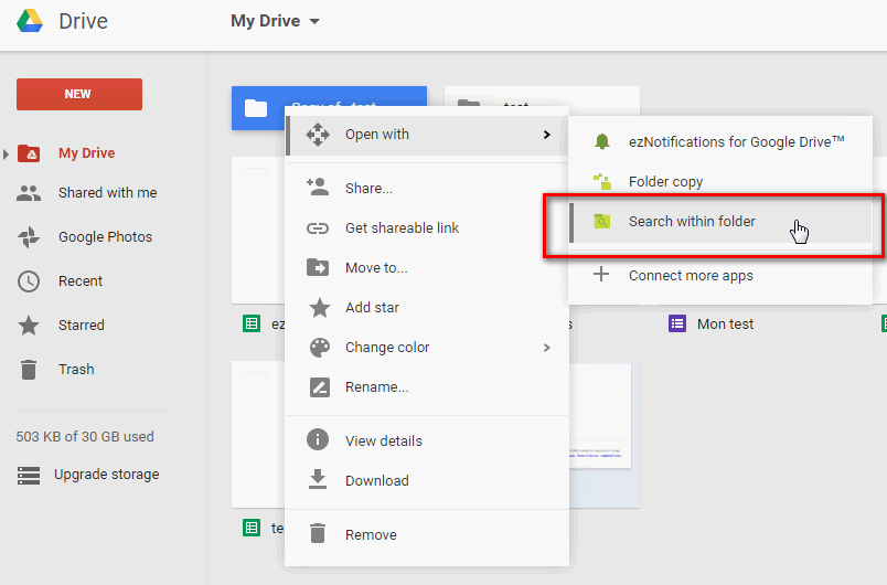 How to use Search within Folder for Google Drive - ez34