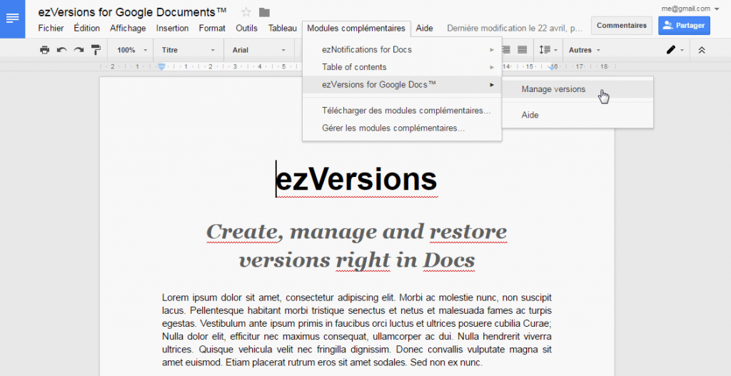 open ezversion in a google document