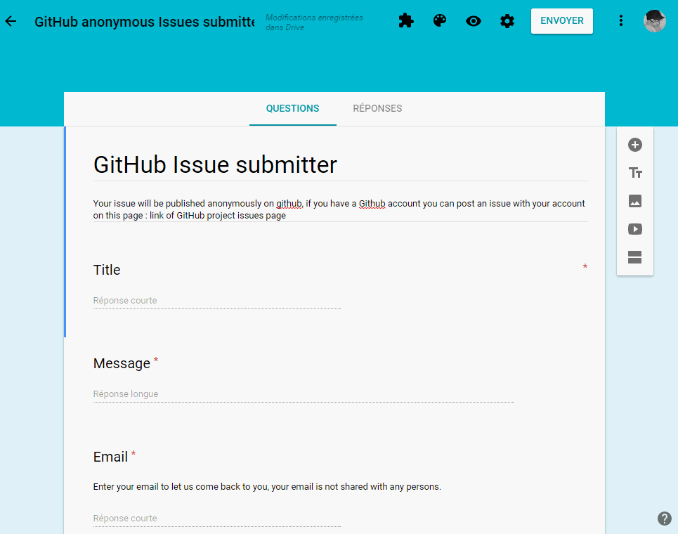 google form to submit anonymous issue to github