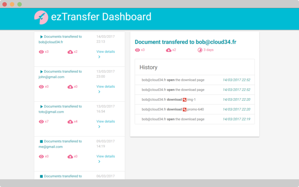 track file opened with ezTrasnfer, dasboard view