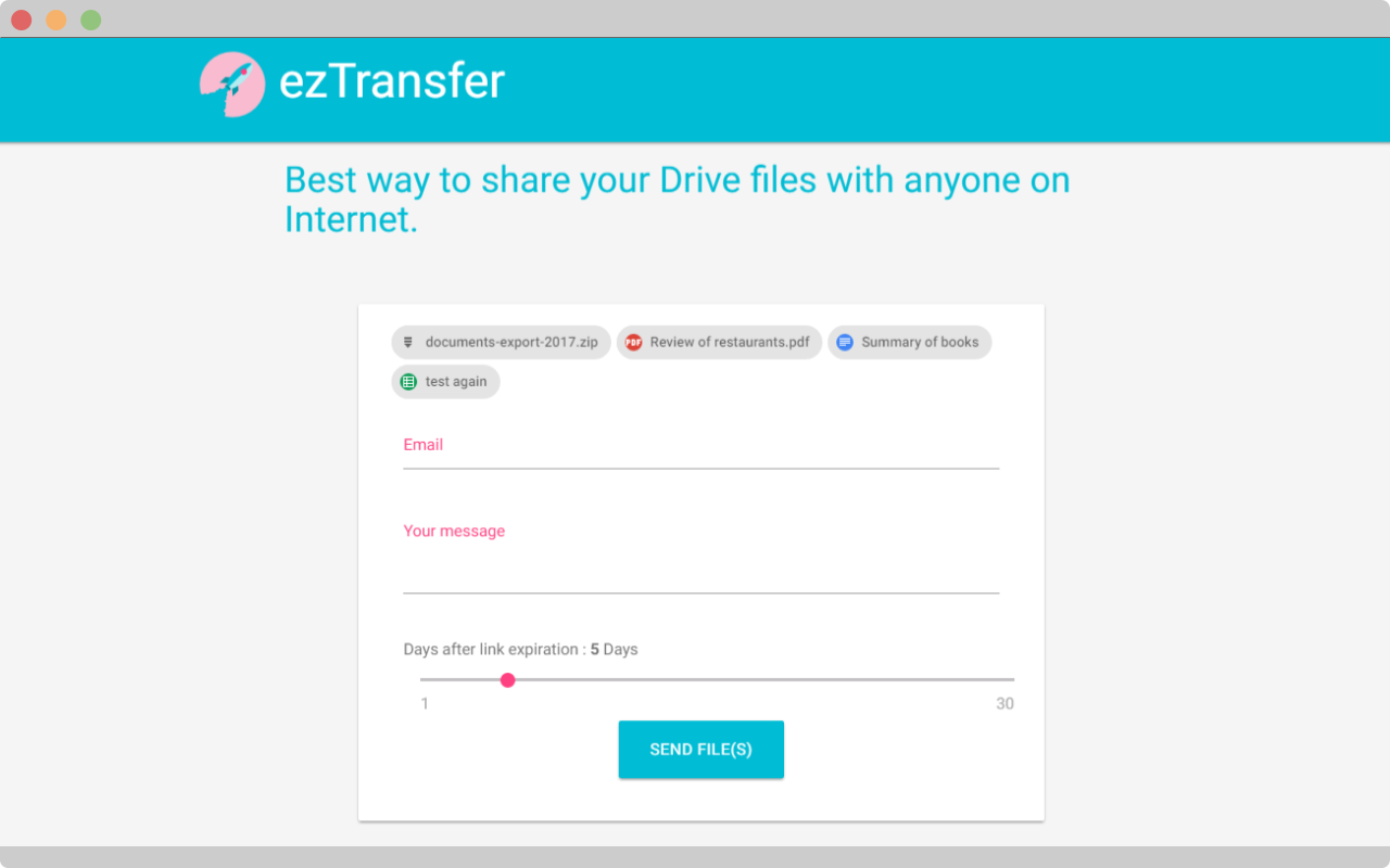send files with ezTransfer
